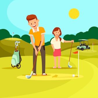 若い男と女のグリーンフィールドでゴルフをしています。