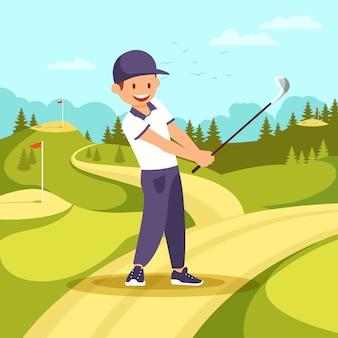 スポーツ制服を着た若い笑みを浮かべて男がゴルフクラブを保持します。