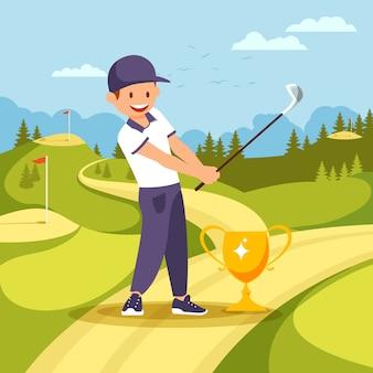 ゴルフプレーヤー手でクラブをゴブレットの近くに立ちます。