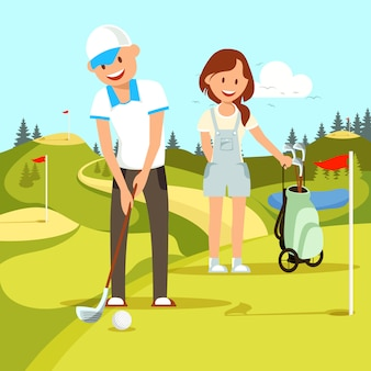 Молодая пара счастлива мужчина и женщина, играя в гольф.