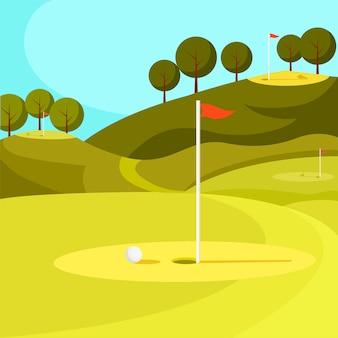 Зеленое поле для гольфа с отверстием и красным флагом. вектор.