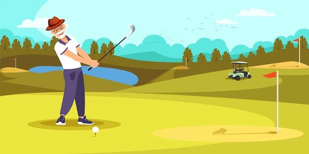 高齢者のゴルファーが美しいゴルフコースでロングショットを打つ