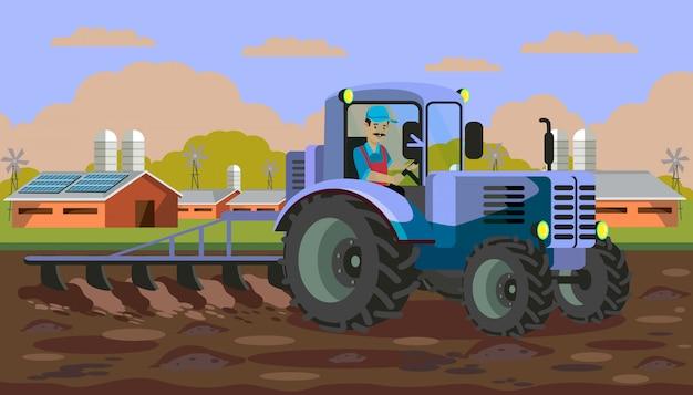 フィールドフラットベクトル図で耕すトラクター