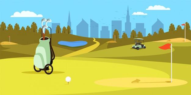 グリーンゴルフ場の上に立ってクラブとバッグします。スポーツ