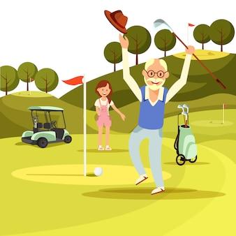 幸せなうれしそうな年配の男性人はグリーンゴルフ場にジャンプします。