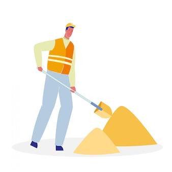 Работник с лопатой мультяшный векторная иллюстрация