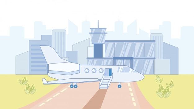 Самолет в аэропорту мультяшный векторная иллюстрация