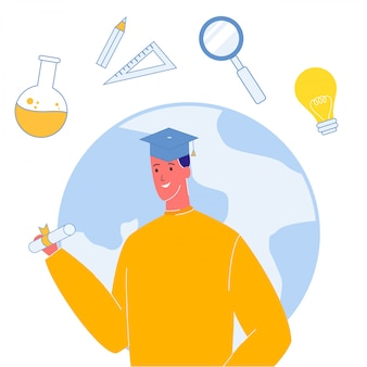 卒業キャップベクトルイラストの学生