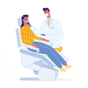 Стоматолог и пациент цвет векторные иллюстрации