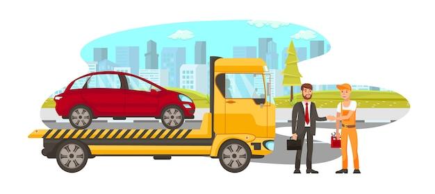Служба доставки автомобилей с плоским векторная иллюстрация