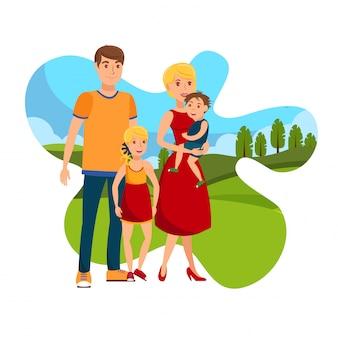家族のフラットベクトル図と幸せな日