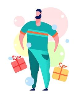 Человек с подарочной коробке мультяшный векторная иллюстрация
