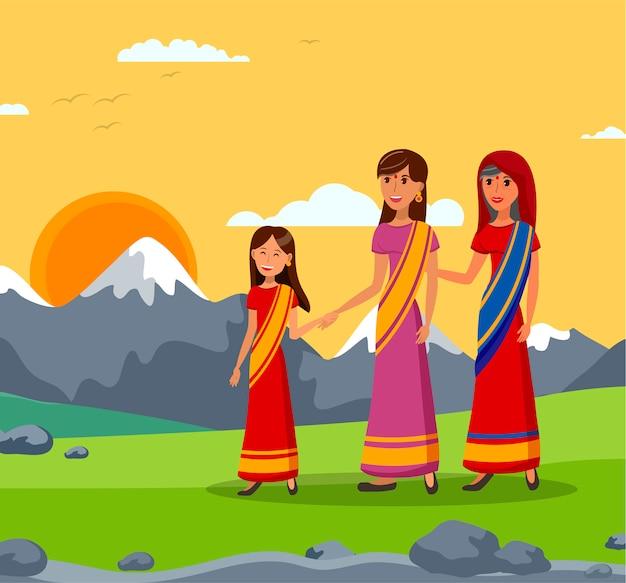 Индийская семья иллюстрация