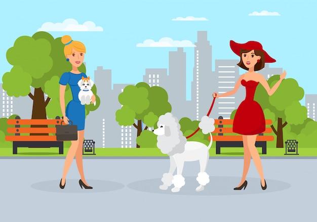 公園を歩いて犬のベクトルイラスト女性