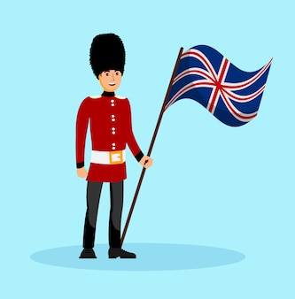 Бифитер, англия королева гвардии векторная иллюстрация