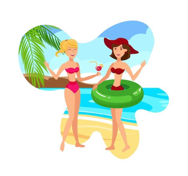 Подружки на тропическом курорте векторная иллюстрация