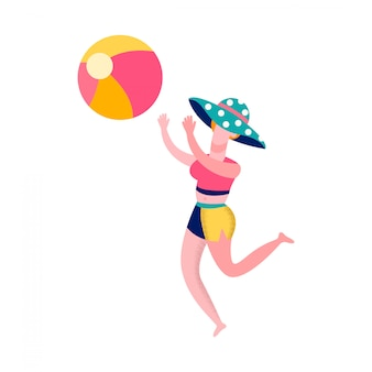 ビーチバレーボールフラットイラストをしている女性