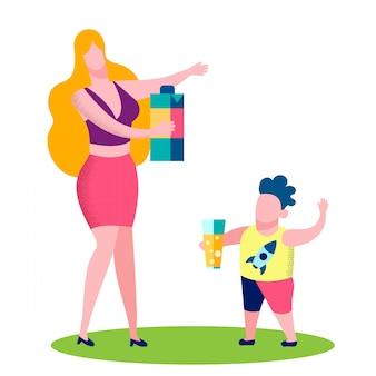 母と息子のジュースを飲むベクトルイラスト