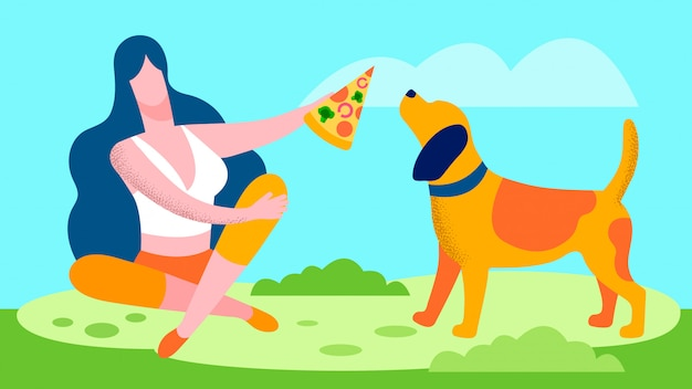 犬フラットイラストにピザを与える若い女性