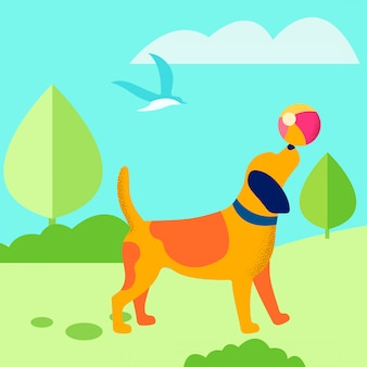 Щенок играет в мяч на открытом воздухе плоской иллюстрации