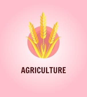 ピンクの丸ベクトルイラストに小麦ライ麦の穂