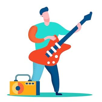 Профессиональный гитарист с плоским цветным рисунком