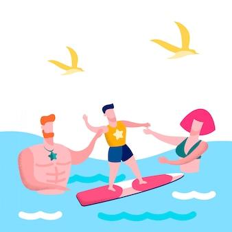 家族の海辺での休暇フラットベクトル図