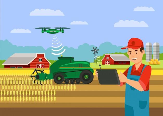 Зерноуборочный комбайн в поле пшеницы иллюстрация