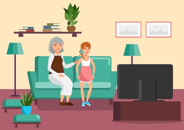祖母と孫娘フラットイラスト