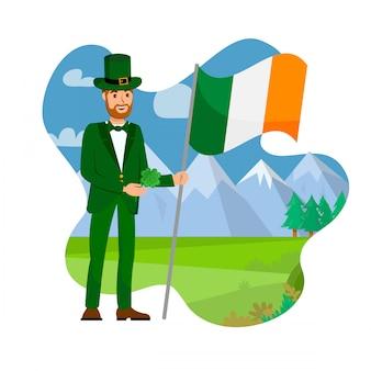 アイルランド市民と国旗のイラスト