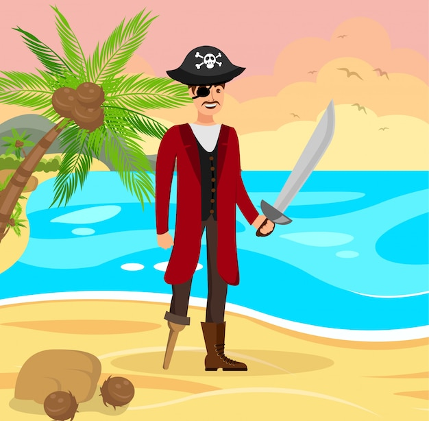 Веселый пиратский капитан плоский цветной рисунок