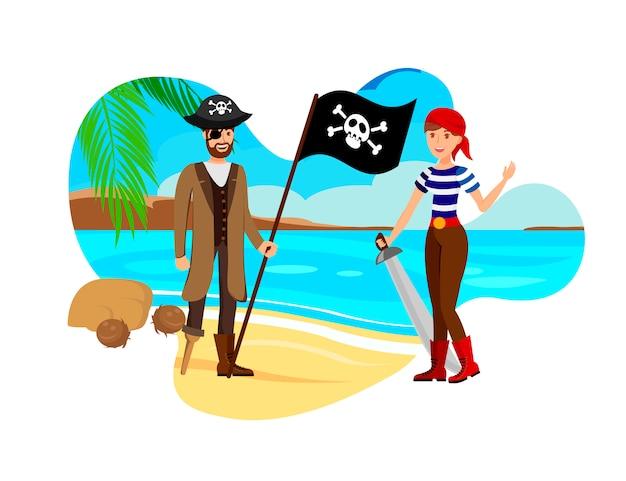 Добыча охотников на песчаном пляже векторная иллюстрация
