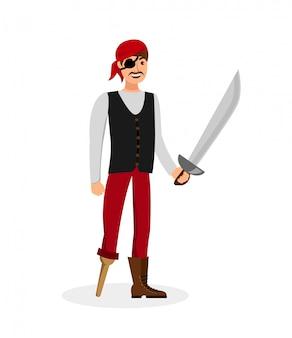Веселый пират с мечом плоская цветная иллюстрация