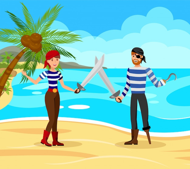 Пираты борются друг с другом векторная иллюстрация