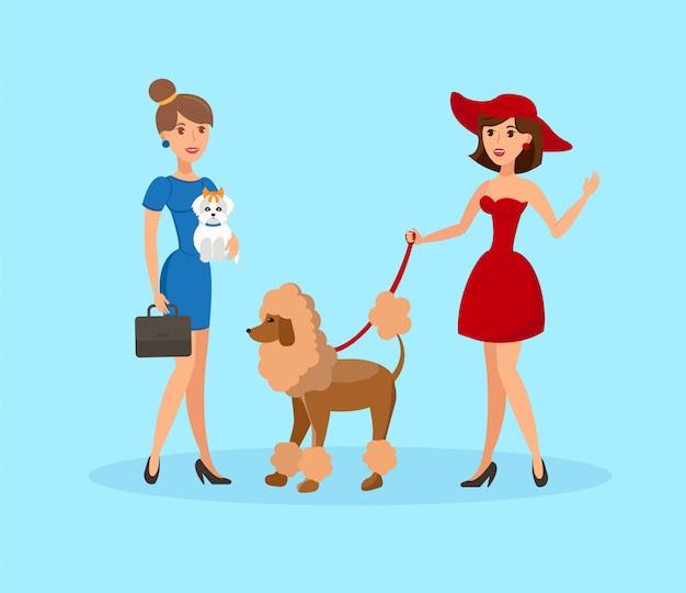 かわいい女性ウォーキング犬フラットベクトルイラスト