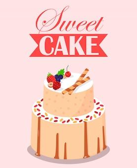 フルーツの装飾が施された甘いケーキ