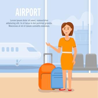 若い女性は飛行機で旅行します。