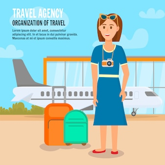 飛行機で旅行する若い女性