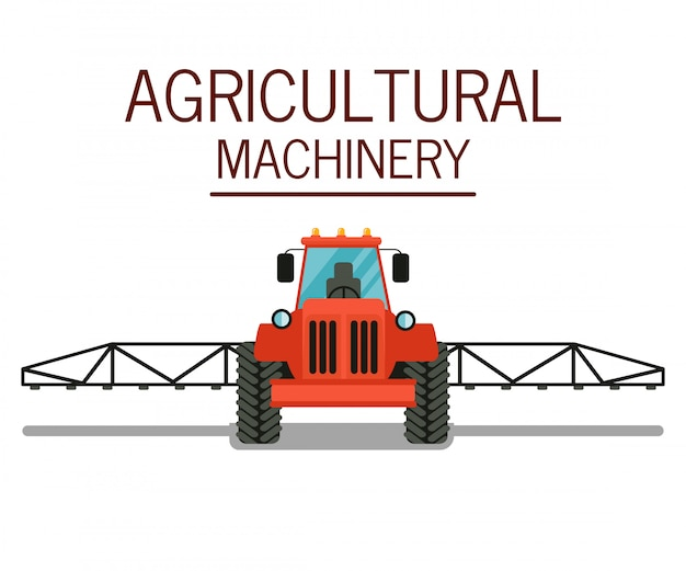 Опрыскивание урожая трактор плоский векторная иллюстрация