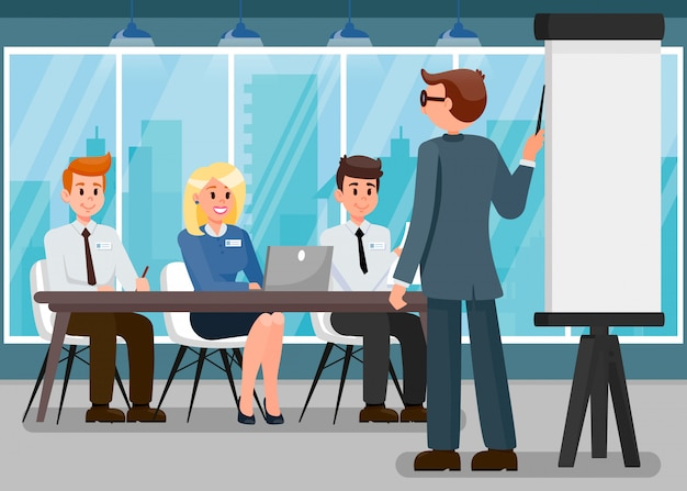 Бизнес-тренер презентация плоский иллюстрация