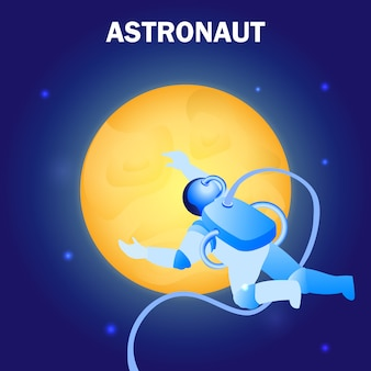 宇宙飛行士が宇宙に浮かぶフラットイラスト