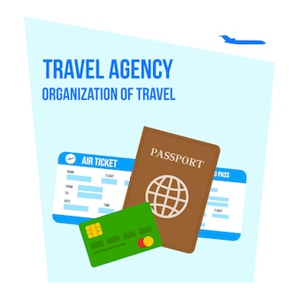 旅行レタリングフラット図の組織