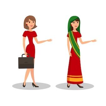 Красивые женщины в платьях с плоским цветная иллюстрация