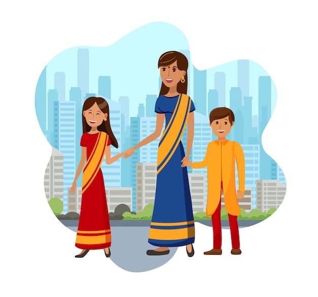 Дети с матерью из индии цветная иллюстрация
