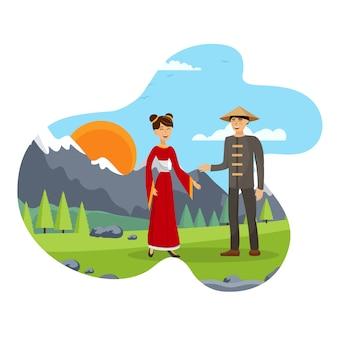 夫と妻、中国のカップルフラットイラスト