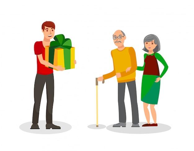 Подарок на день рождения для родителей плоский векторная иллюстрация