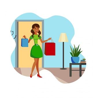 Счастливый шопоголик у себя дома плоский векторная иллюстрация
