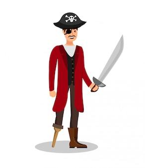 Харизматичный пиратский шкипер с плоским цветным рисунком