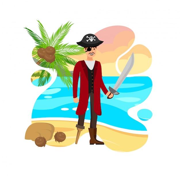 Улыбающийся пиратский капитан вектор цветная иллюстрация