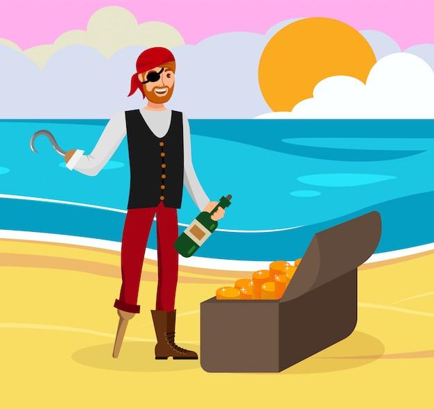 Пират нашел золотого плоского цвета мультипликационного персонажа